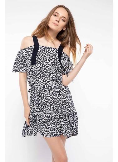 DeFacto Karmen Yaka Desenli Elbise Lacivert